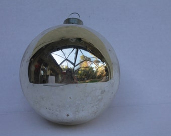 Extra LARGE Shiny Brite Xmas Ornament Jumbo Huge SILVER