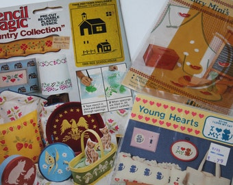 Lot of Assorted Stencils Stencil Patterns Holiday Hearts Country Children's Room