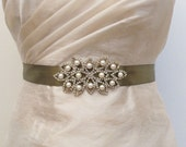 Wedding Dress Sash Olive Green Sash Bride Gold Silver Sash Bridal Sash Pearl Belt Pearl  Satin Ribbon  Rhinestone Pearl Applique Sash Buckle