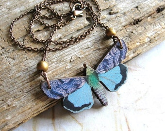 Blue Moth - Wooden Moth with Gold Glass Beads Copper Chain Handmade Necklace