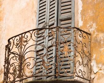 Romantic Balcony in Como, Italy Photography, Milan Aged Blue Balcony in Lake Como, Bedroom Art, Italian Decor - Romance, Rebecca Plotnick