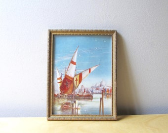 venice harbor sailing ships small print gold gilt wood carved frame
