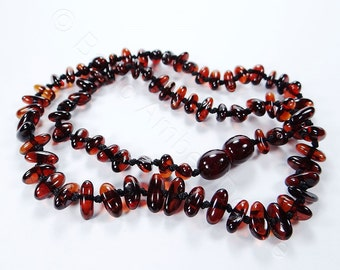 Cherry amber rounded chips teething necklace