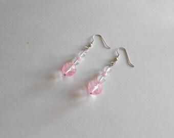 Pink Beads Earrings Clear Beads Earrings Glass Beads Earrings Pink Earrings Clear Earrings Pierced Earrings Dangle Earrings Pink Glass Beads