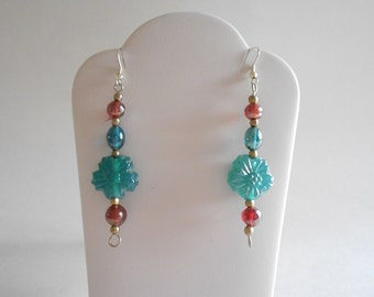 Aqua Green Glass Flower Beads Earrings Green Earrings Aqua Earrings Flower Bead Earrings Pierced Earrings Dangle Earrings