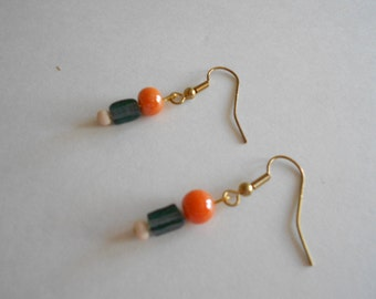 Blue Beads Earrings Orange Beads Earrings Blue Earrings Orange Earrings Glass Beads Pierced Earrings Dangle Earrings Gold Tone Findings