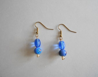 Blue Earrings Glass Beads Earrings Blue Glass Beads Womens Earrings Teen Girls Earrings Drop Earrings Pierced Earrings Dangle Earrings