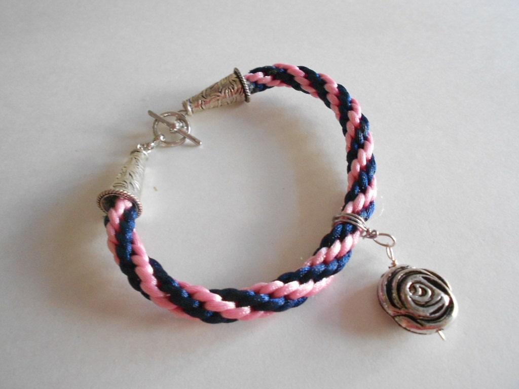 pink bracelet blue bracelet kumihimo bracelet silky cord