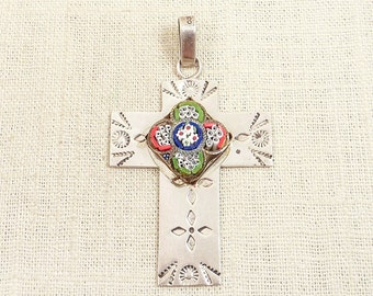 SALE ---- Huge Vintage Mexican Sterling and Micromosaic Cross Pendant