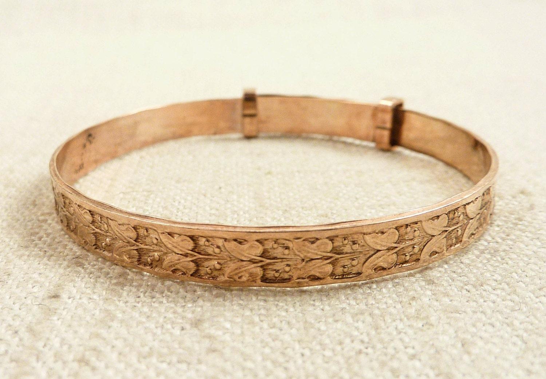 Antique Child's 25 Micron Rolled Gold Expandable Bracelet