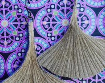 Leather Gingko Leaf Earrings-Tan