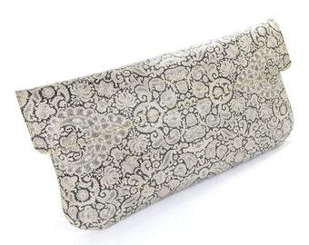 Leather Clutch Bag, Wedding clutch, Bridesmaid clutch, Evening Bag - White Lace (Exclusive range)