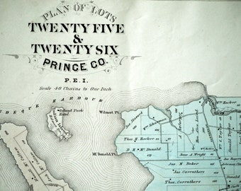 1880 Large Rare Vintage Map of Lots 25 and 26, Prince County, PEI  - Handcolored