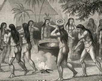 1860 Antique Print of Brazilian Natives and Paraguay Indians