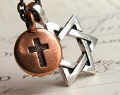 Christian and Jewish necklace, silver pewter charm, copper charm, mixed marriage necklace, Star of David necklace, tolerance, coexist