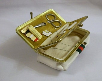 Vintage Sewing Kit, Manicure & Sewing Kit, Manicure Sewing Case, Traveling Cuticle and Sewing Set, Travel Sewing Kit