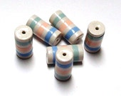 ON SALE NOW Handmade Striped Tube Beads - Polymer Clay - Summer Pearl Pastels