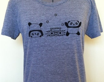 Panda T Shirt Frolic Feminine Cut Athletic Grey Sizes Small through XLarge