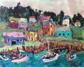 Impressionist Maine Painting, Village by the seacoast, with boats fishing village, RussPotakArtist