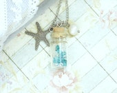 Glass Bottle Necklace Starfish Necklace Nautical Jewelry Beach Necklace Starfish Jewelry Nautical Necklace