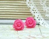 Pink Rose Earrings Pink Stud Earrings Pink Rose Studs Pink Flower Earrings Hypoallergenic Pink Studs