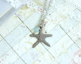 Beach Charm Necklace Starfish Jewelry Nautical Necklace Beach Jewelry Starfish Necklace Ocean Jewelry