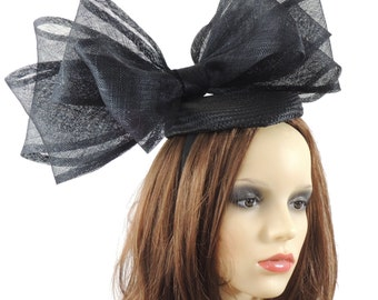 Black Jenna Fascinator Hat for Weddings, Races, and Special Events With Headband