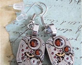 Steampunk ear gear - Topaz - Steampunk Earrings - Repurposed art