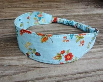 Fabric Headband: Red Flowers on Aqua