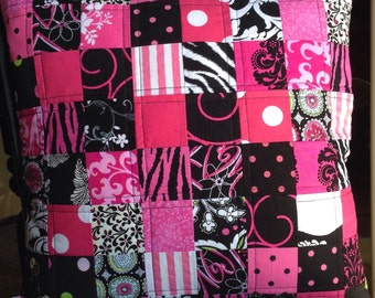 Handmade Pillow Cover - Pink and Black Patchwork