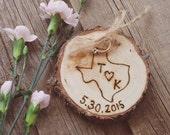 Wood Ring Holder - Custom State - Rustic Wedding - Alternative to Ring Bearer Pillow - Christmas Ornament - 5th Anniversary Gift - Texas