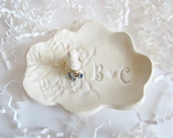 Bridal shower gift, ring holder gift, Bride to be gift, His and Hers monogram ring dish, Ceramic dish