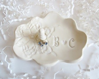 Ring dish, ring holder gift, Bride to be gift, His and Hers monogram ring dish, Bridal shower gift, Ceramic dish