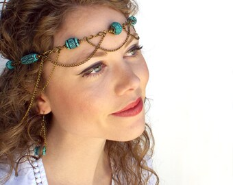Tribal Goddess Headpiece and Earrings in Bronze and Turquoise (OOAK)