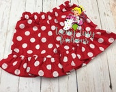 Minnie shorts ~ Red and white polka dot shorts ~ 4th of july ~ July 4th ~ patriotic ~ Independence day ~ ruffled shorts
