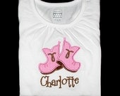 Custom Personalized Applique Gingham COWBOY BOOTS and NAME Bodysuit or Shirt - Bubblegum Pink and Brown