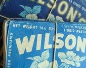Vintage Farmhouse 1940s Dairy Milk Pretty Blue Floral Labels One Dozen
