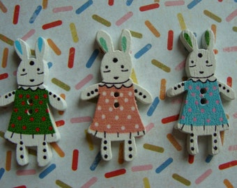 Sweet Adorable Bunny Buttons Bunnies in Rabbit Dresses Lot