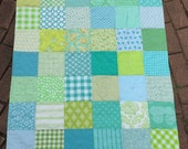 Green baby girl crib quilt Blanket Nursery Decor Gift