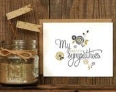 My Deepest Sympathies Letterpress Greeting Card - sorry condolences thinking of you Hand Lettering