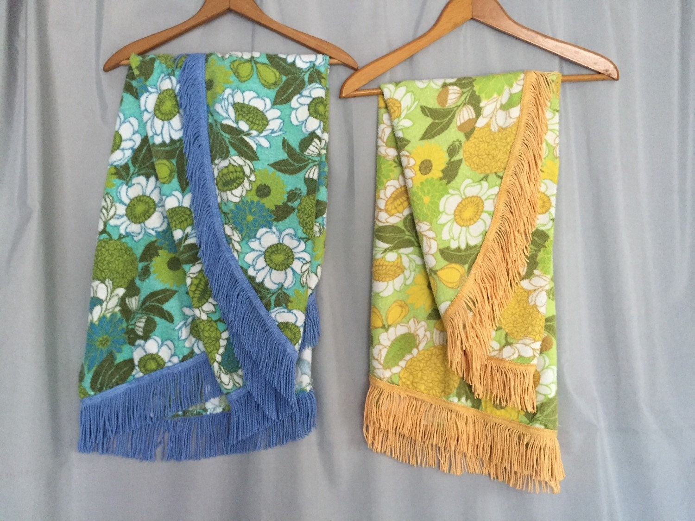 Patio Tablecloth Vintage Terry Cloth Floral Retro Patterns