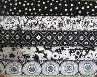 Black White Grey Parisian Half Yard Bundle Fabric - Riley Blake - Chelsea Anderson