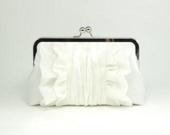 Ivory Bridal Clutch   Wedding Clutch   Silk Purse [Flutter Clutch: Porcelain and Ivory Silk]