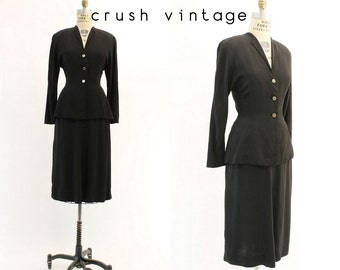 40s Suit XS / 1940s Vintage Peplum Jacket and Skirt / Black Beauty Suit