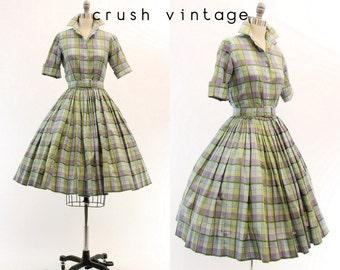 1950s Blouse and Skirt Set XXS / 1950s Plaid Cotton Dress  /  Geometry Class Dress