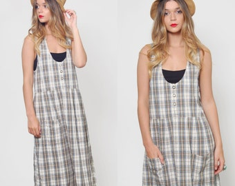 Vintage 80s WOOLRICH Jumper White PLAID Sleeveless Grunge Maxi Dress Retro Indie Summer Dress