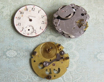 Vintage pocket Watch movement parts - Pocket watch plates Steampunk - Scrapbooking J73