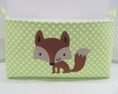 "XXL 18"" x 8"" x 10"" Fabric Organizer Basket Appliqued FOX Storage Container Bin Bucket Bag Toy Bin Home Decor- Bright Green Dots Cotton"