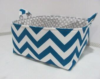 "Diaper Caddy - Fabric Storage Basket - 11""x11"" Organizer Bin - Storage box - Diaper Bag - Baby Gift - Nursery Decor - Cobalt Chevron Zigzag"