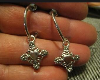Heart with cross in center hoop earring sterling
